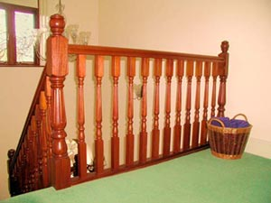 Sapele Waterville spindles and newel