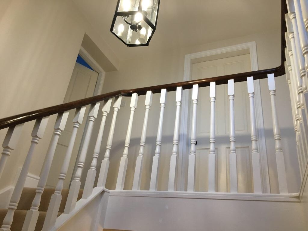 walnut/painted spindles